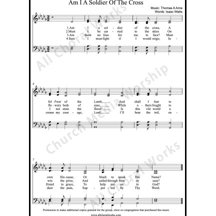 Am I a soldier of the cross Sheet Music (SATB) with Practice Music tracks. Make unlimited copies of sheet music and the practice music.