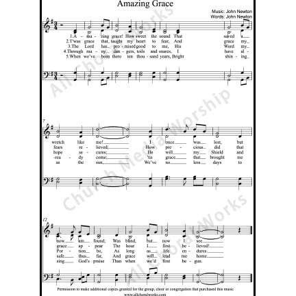 Amazing Grace Sheet Music (SATB) with Practice Music tracks. Make unlimited copies of sheet music and the practice music.