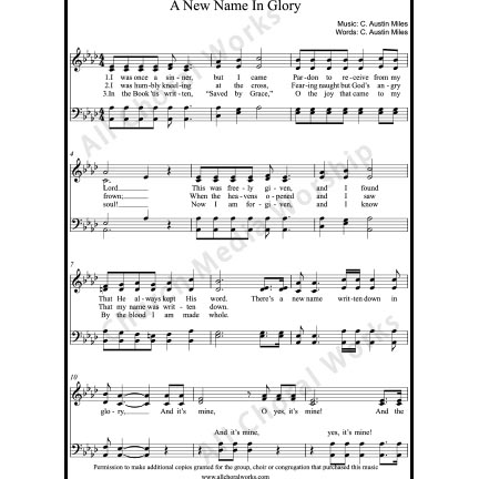 A new name in glory Sheet Music (SATB) with Practice Music tracks. Make unlimited copies of sheet music and the practice music.