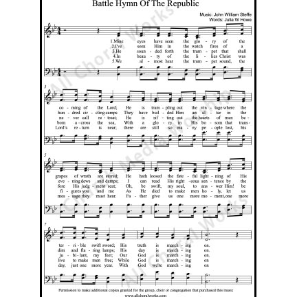 Battle hymn of the republic Sheet Music (SATB) with Practice Music tracks. Make unlimited copies of sheet music and the practice music.