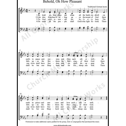 Behold oh how pleasant Sheet Music (SATB) with Practice Music tracks. Make unlimited copies of sheet music and the practice music.