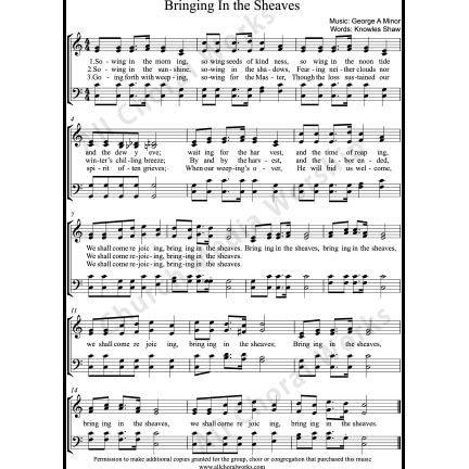 Bringing in the sheaves Sheet Music (SATB) with Practice Music tracks. Make unlimited copies of sheet music and the practice music.
