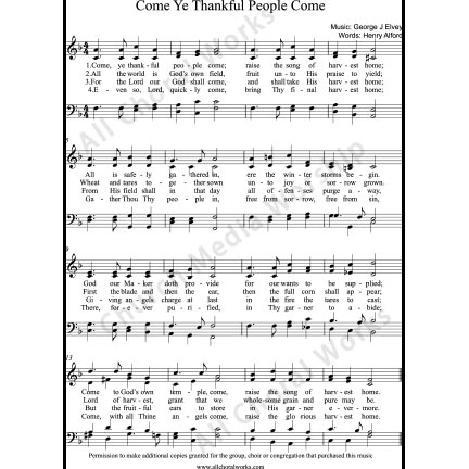 Come ye thankful people come Sheet Music (SATB) with Practice Music tracks. Make unlimited copies of sheet music and the practice music.