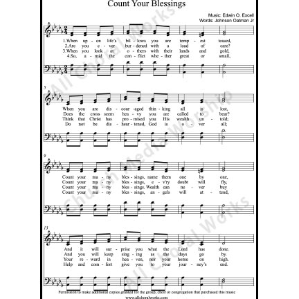 Count your blessings Sheet Music (SATB) with Practice Music tracks. Make unlimited copies of sheet music and the practice music.