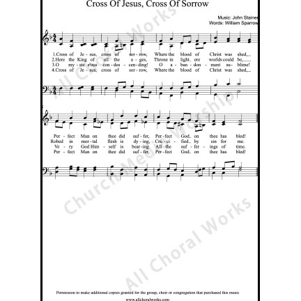 Cross of Jesus Cross of sorrow Sheet Music (SATB) with Practice Music tracks. Make unlimited copies of sheet music and the practice music.