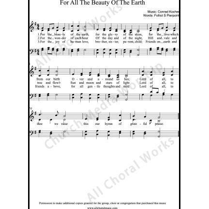 For the beauty of the earth Sheet Music (SATB) with Practice Music tracks. Make unlimited copies of sheet music and the practice music.