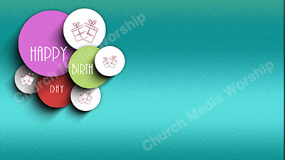 Happy Birthday Screen teal Christian Worship Background. High quality worship images for use to spread the Gospel and enhance the worship experience.