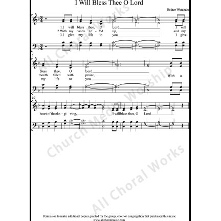 I Will Bless Thee O Lord Sheet Music (SATB) with Practice Music tracks. Make unlimited copies of sheet music and the practice music.