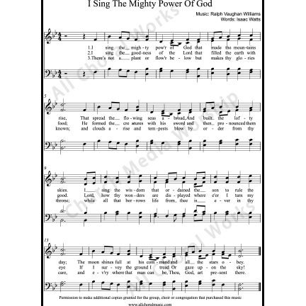 I sing the mighty power of God Sheet Music (SATB) with Practice Music tracks. Make unlimited copies of sheet music and the practice music.