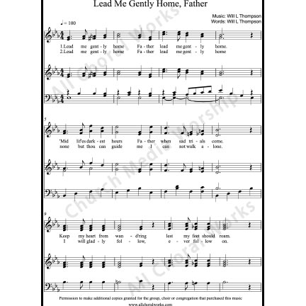 Lead Me Gently Home Father Sheet Music (SATB) with Practice Music tracks. Make unlimited copies of sheet music and the practice music.