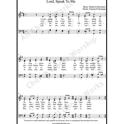 Lord speak to me Sheet Music (SATB) with Practice Music tracks. Make unlimited copies of sheet music and the practice music.
