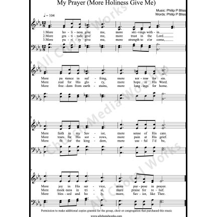 My Prayer Sheet Music (SATB) with Practice Music tracks. Make unlimited copies of sheet music and the practice music.