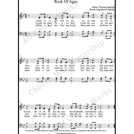 Rock of ages Sheet Music (SATB) with Practice Music tracks. Make unlimited copies of sheet music and the practice music.