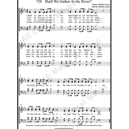 Shall we gather at the river Sheet Music (SATB) with Practice Music tracks. Make unlimited copies of sheet music and the practice music.