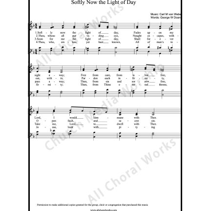 Softly now the light of day Sheet Music (SATB) with Practice Music tracks. Make unlimited copies of sheet music and the practice music.