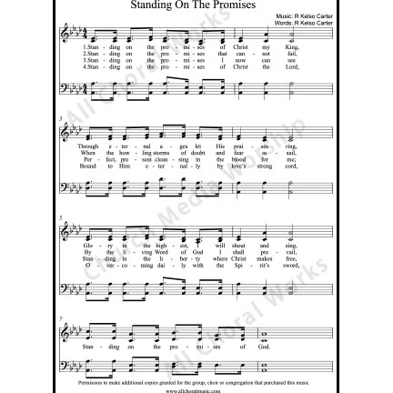 Standing on the Promises Sheet Music (SATB) with Practice Music tracks. Make unlimited copies of sheet music and the practice music.