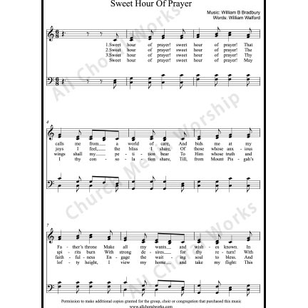 Sweet Hour of Prayer Sheet Music (SATB) with Practice Music tracks. Make unlimited copies of sheet music and the practice music.