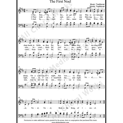 The First Noel Sheet Music (SATB) with Practice Music tracks. Make unlimited copies of sheet music and the practice music.