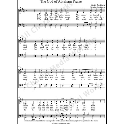 The God of Abraham praise Sheet Music (SATB) with Practice Music tracks. Make unlimited copies of sheet music and the practice music.