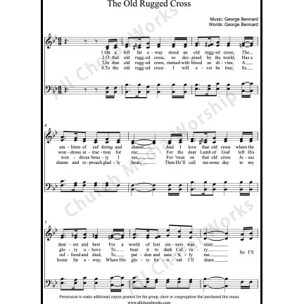 The Old Rugged Cross Sheet Music (SATB) with Practice Music tracks. Make unlimited copies of sheet music and the practice music.
