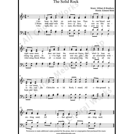 The Solid Rock Sheet Music (SATB) with Practice Music tracks. Make unlimited copies of sheet music and the practice music.
