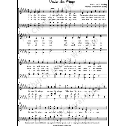 Under His Wings Sheet Music (SATB) with Practice Music tracks. Make unlimited copies of sheet music and the practice music.