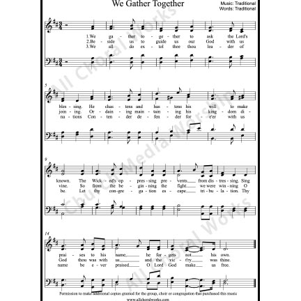 We Gather Together Sheet Music (SATB) with Practice Music tracks. Make unlimited copies of sheet music and the practice music.