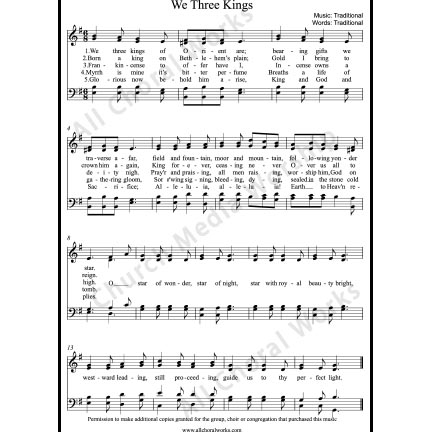 We three kings Sheet Music (SATB) with Practice Music tracks. Make unlimited copies of sheet music and the practice music.