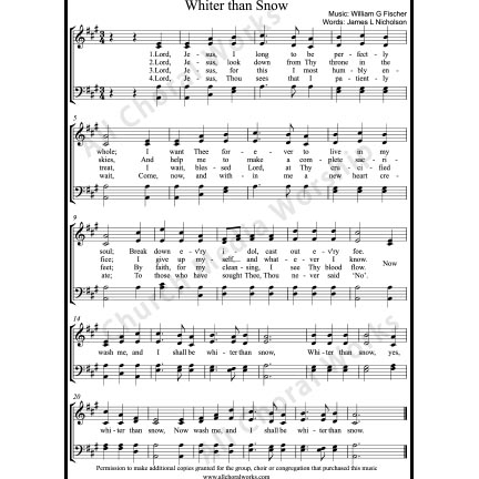 Whiter than snow Sheet Music (SATB) with Practice Music tracks. Make unlimited copies of sheet music and the practice music.