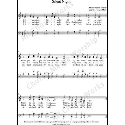 Silent night Sheet Music (SATB) with Practice Music tracks. Make unlimited copies of sheet music and the practice music.
